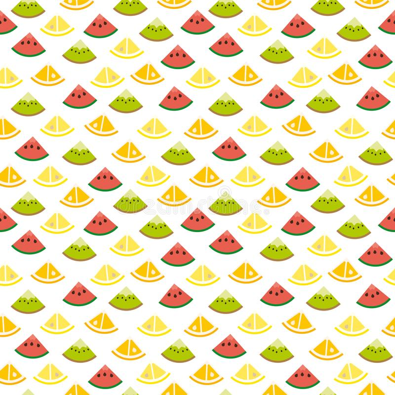 无缝的果子切片背景样式 库存例证