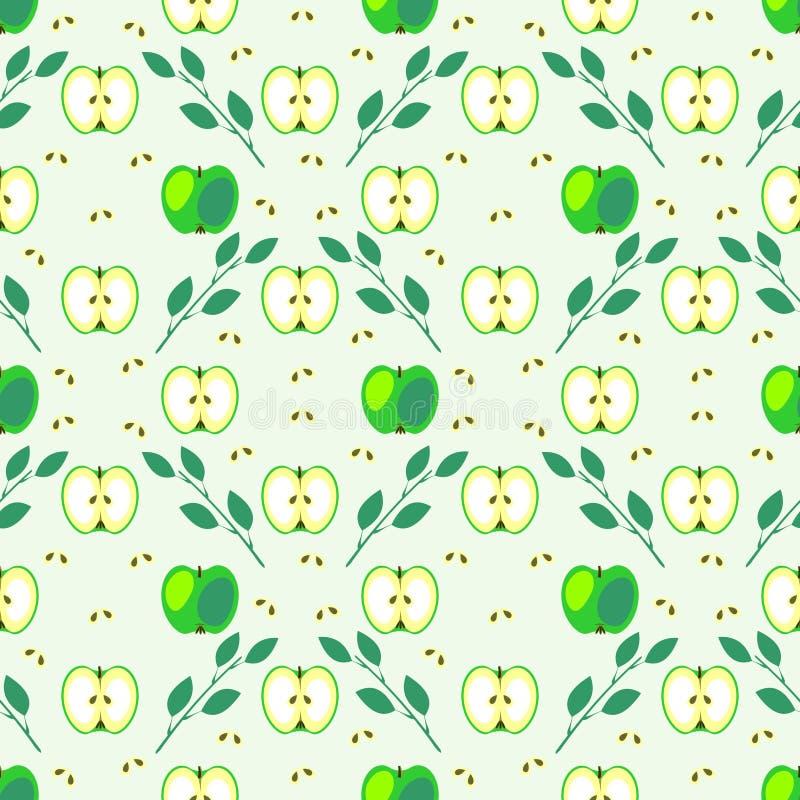 无缝的果子导航样式、几何背景用绿色苹果和叶子 库存例证