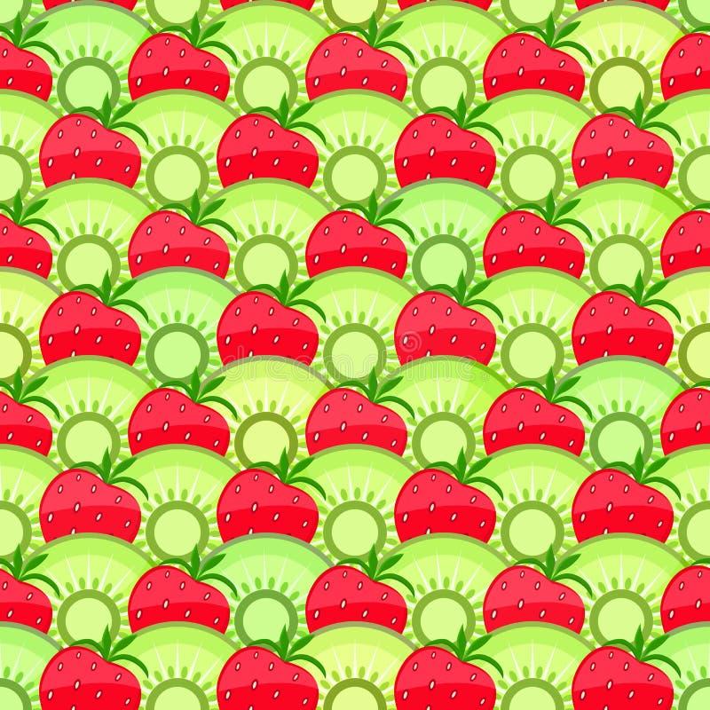 无缝的果子样式用草莓和猕猴桃。 皇族释放例证