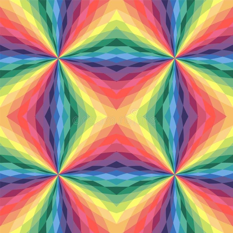 无缝的柔和的淡色彩色的多角形样式 彩虹几何抽象背景 库存例证