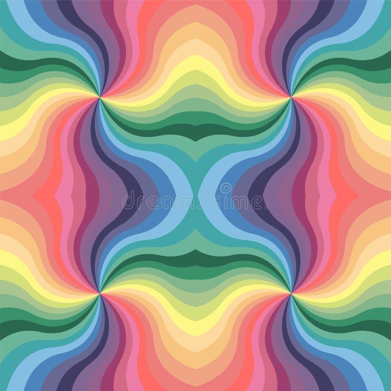 无缝的柔和的淡色彩色的波浪条纹样式 几何抽象的背景 向量例证