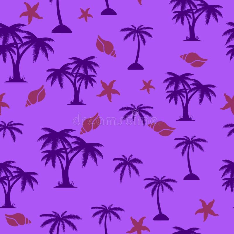 无缝的样式、棕榈树和贝壳,在紫外backgr 皇族释放例证