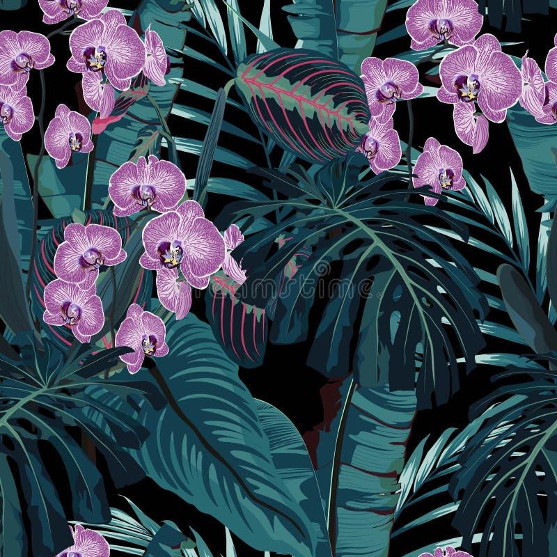 无缝的样式、紫罗兰色兰花花和青绿的异乎寻常的棕榈妖怪在黑暗的背景离开 库存例证