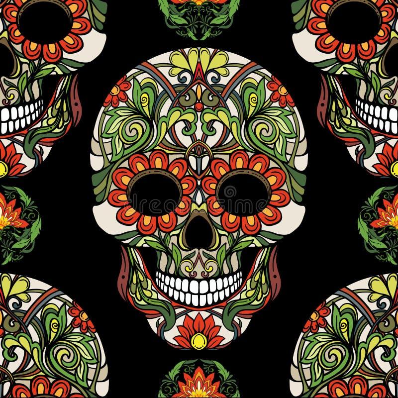 无缝的样式、背景与糖头骨和花卉啪答声 向量例证