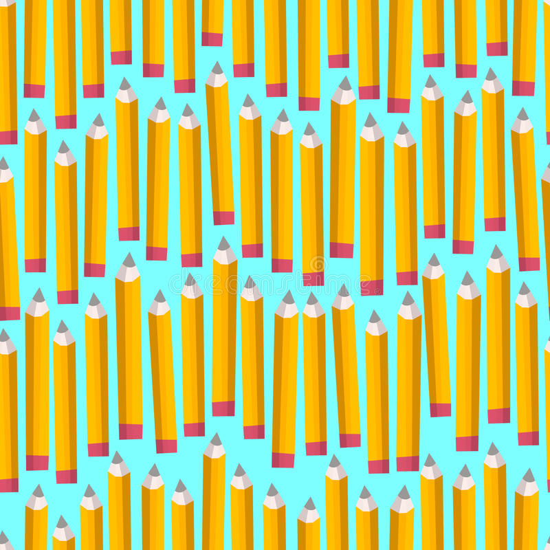 无缝的样式与在白色背景否决 回到与可笑的铅笔的学校纹理 也corel凹道例证向量 库存例证