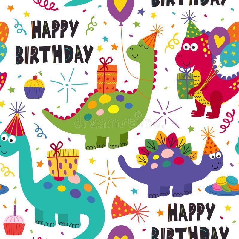 无缝的样式与在白色背景的逗人喜爱的恐龙生日快乐 库存例证
