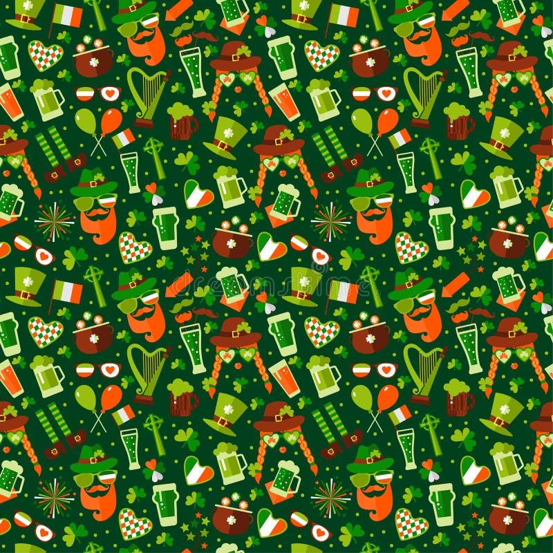 无缝的样式为圣徒在绿色的帕特里克斯天 向量例证