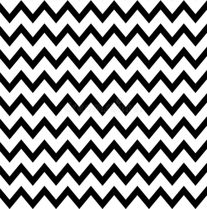无缝的样式之字形 V形臂章无缝的背景 减速火箭黑白的墙纸 皇族释放例证
