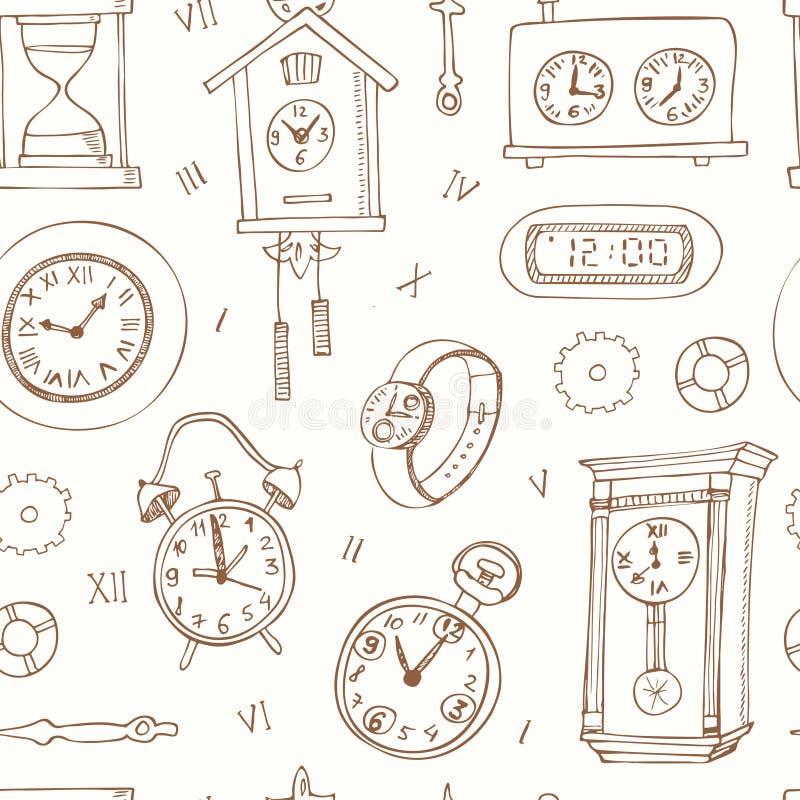 无缝的样式乱画剪影计时和手表 皇族释放例证