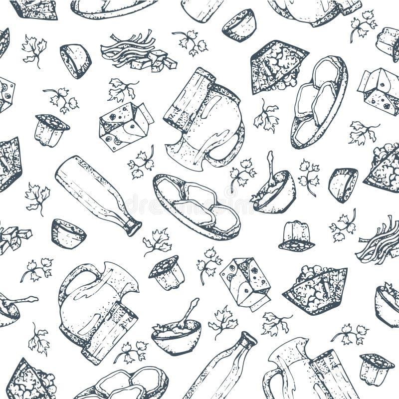 无缝的样式乳制品,手拉,速写食物 向量例证