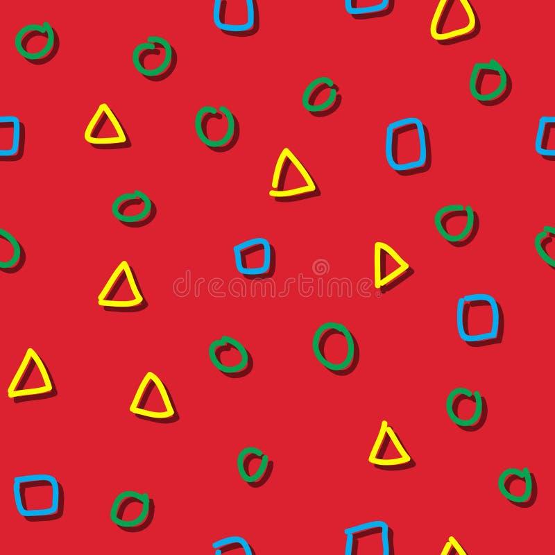 无缝的样式五颜六色的形状儿童图画 皇族释放例证