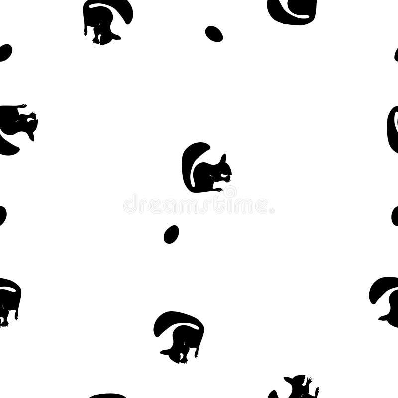 无缝的样式仿效黑灰鼠剪影和坚果在白色,传染媒介, eps 10 皇族释放例证