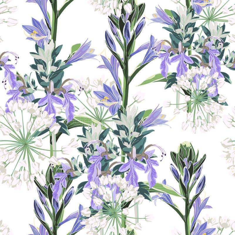 无缝的样式传染媒介花卉水彩样式设计:狂放的紫罗兰色花和白色草本 皇族释放例证