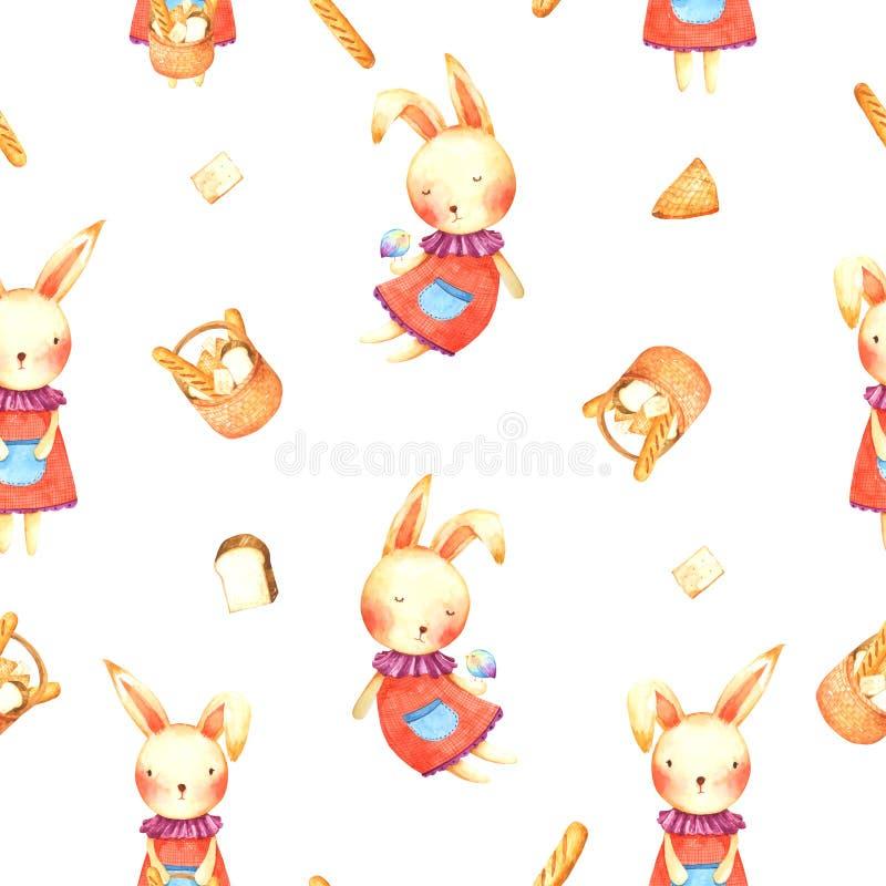 无缝的样式兔宝宝的面包在水彩的议院动画片 库存例证