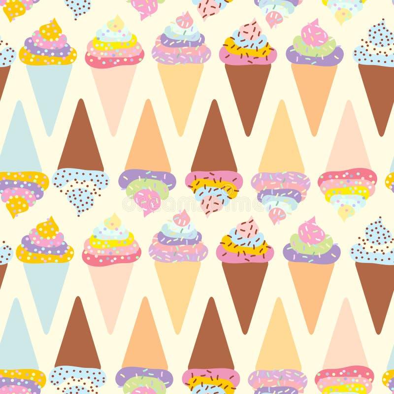 无缝的样式冰淇凌奶蛋烘饼锥体,与奶油的集合和洒,在轻的背景的淡色 向量 皇族释放例证