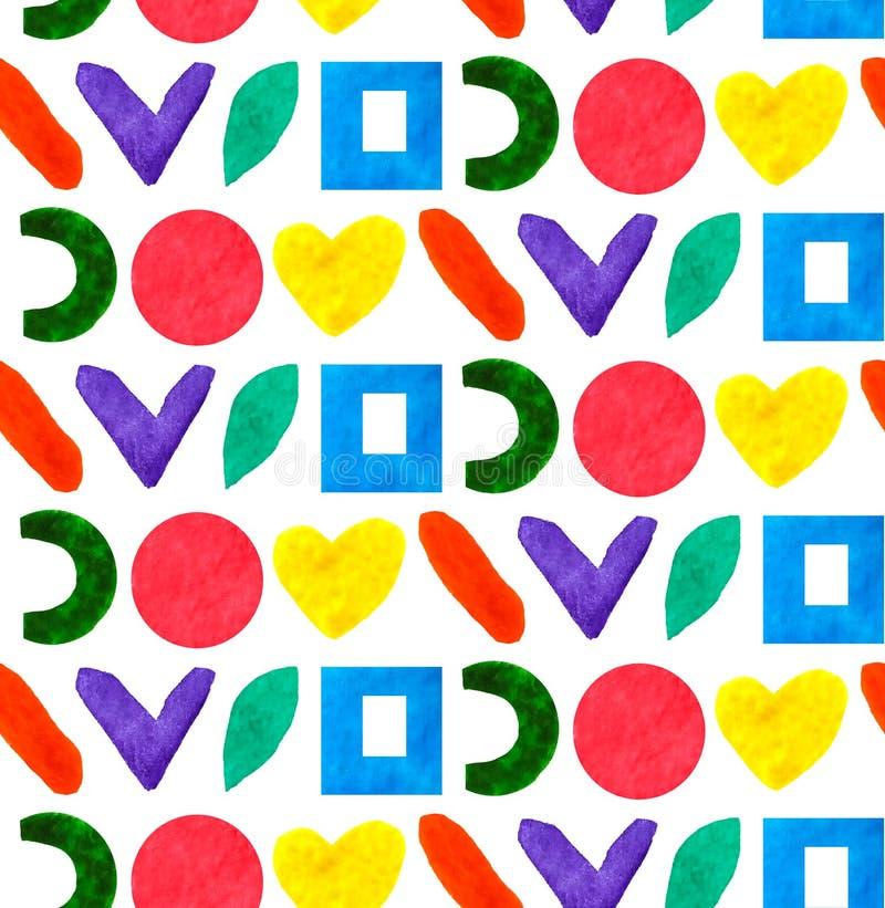 无缝的样式几何另外形式和形状盘旋,摆正,在颜色彩虹的心脏在白色背景中 向量例证