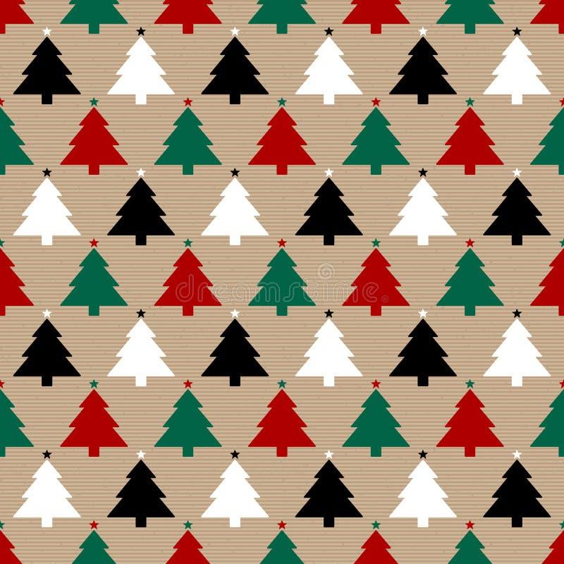 无缝的样式包装纸和圣诞树红色绿色黑白色 皇族释放例证