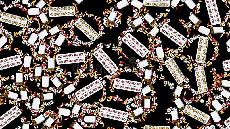 无缝的样式医学片剂药片糖衣杏仁压缩纪录罐头与医学维生素药物的组装在黑色 皇族释放例证