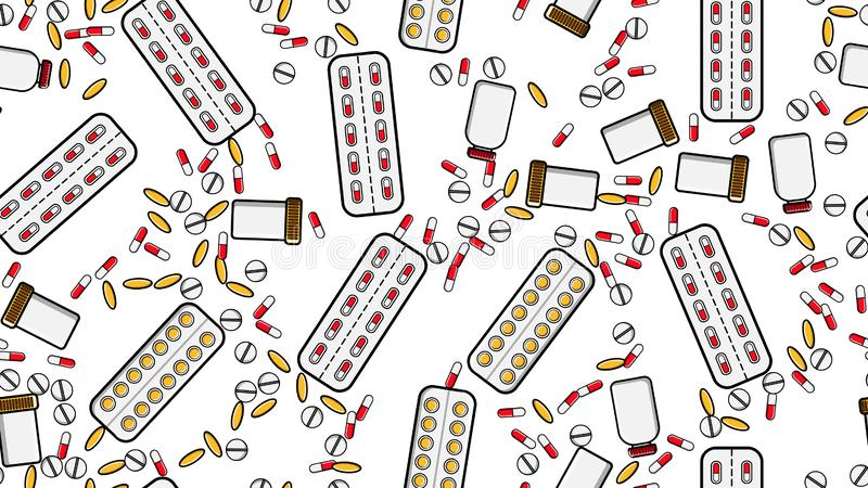 无缝的样式反复医学片剂药片糖衣杏仁压缩纪录罐头与医学维生素药物的组装 向量例证
