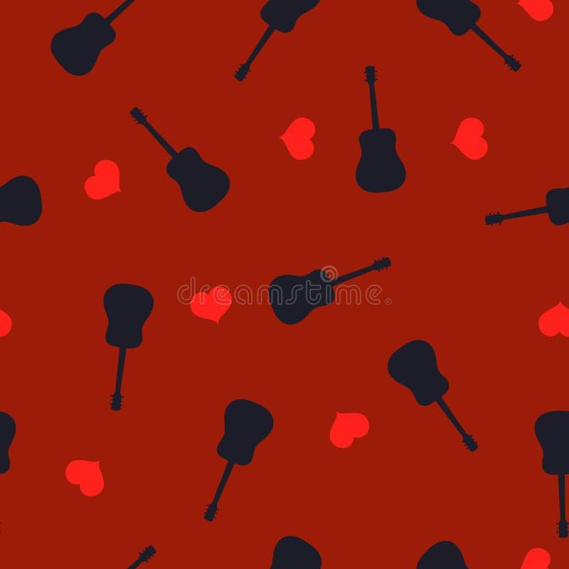 无缝的样式吉他黑色剪影和红心在伯根地,传染媒介eps 10 向量例证