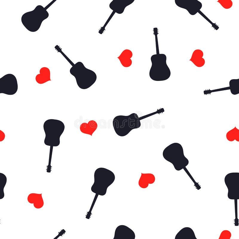 无缝的样式吉他黑色剪影和红心在白色,传染媒介eps 10 向量例证