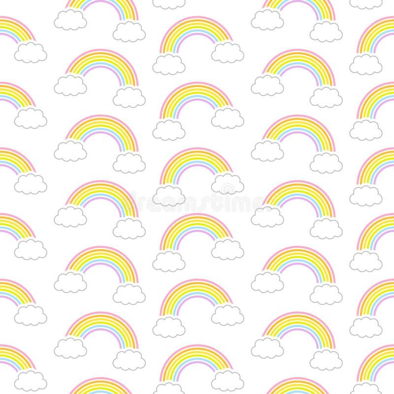 无缝的样式图表对角彩虹和云彩 向量例证
