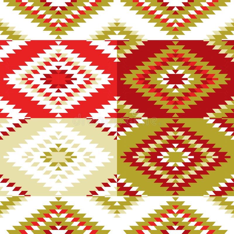 无缝的样式土耳其地毯白色红色绿橄榄卡其色 与传统伙计ge的五颜六色的补缀品马赛克东方人kilim地毯 库存例证