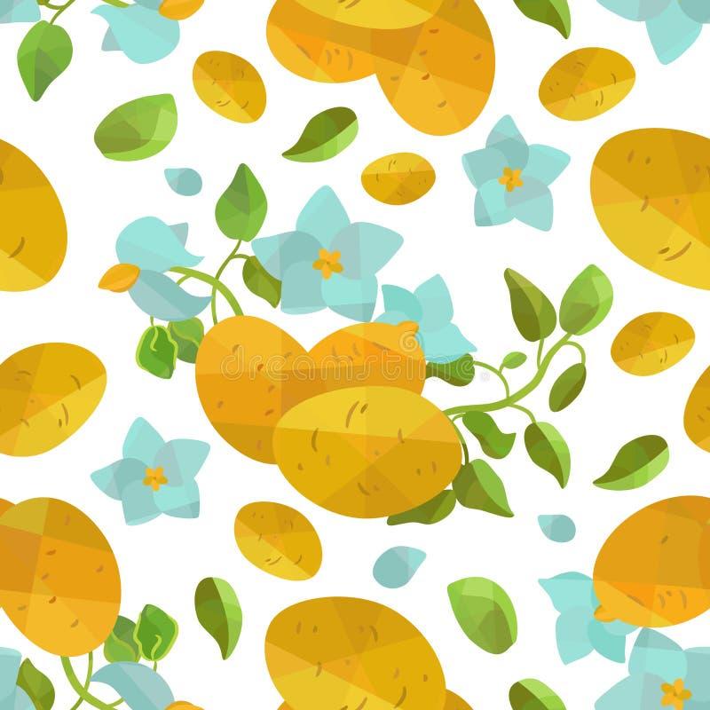 无缝的样式土豆和花在origami样式 库存照片