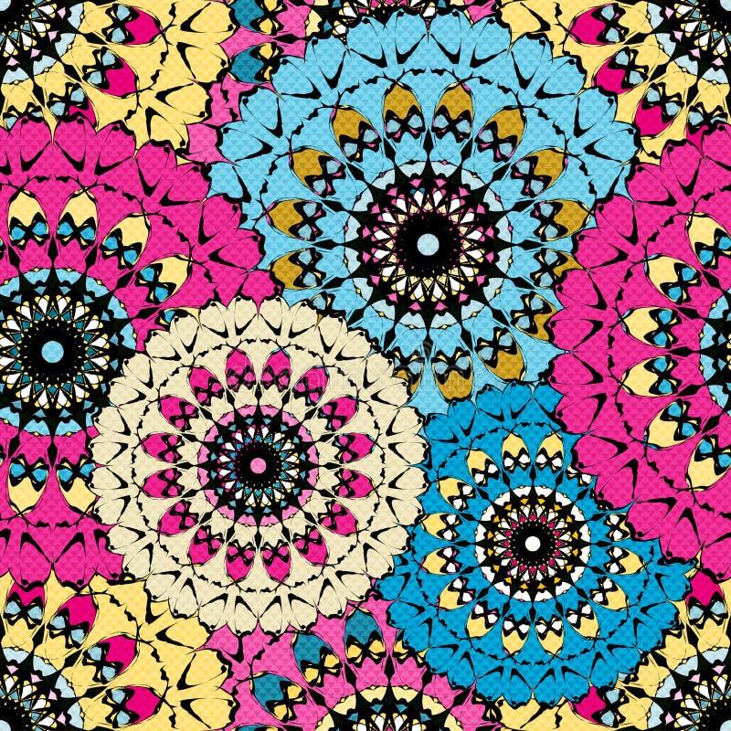 无缝的样式在东方与坛场元素回教阿拉伯亚洲主题的样式五颜六色的装饰背景中 向量例证