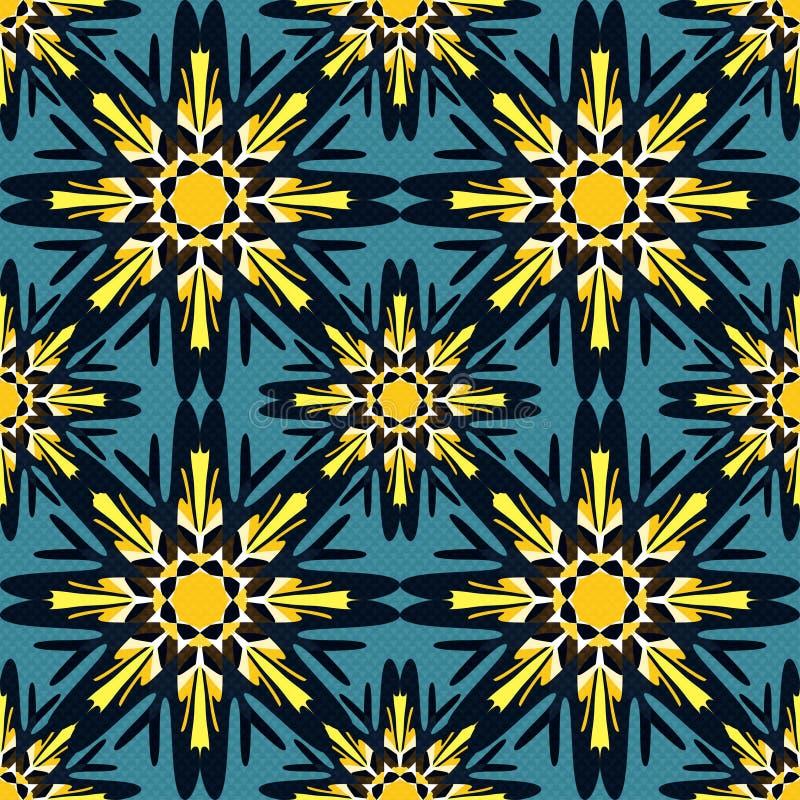 无缝的样式在东方与坛场元素回教阿拉伯亚洲主题的样式五颜六色的装饰背景中 皇族释放例证