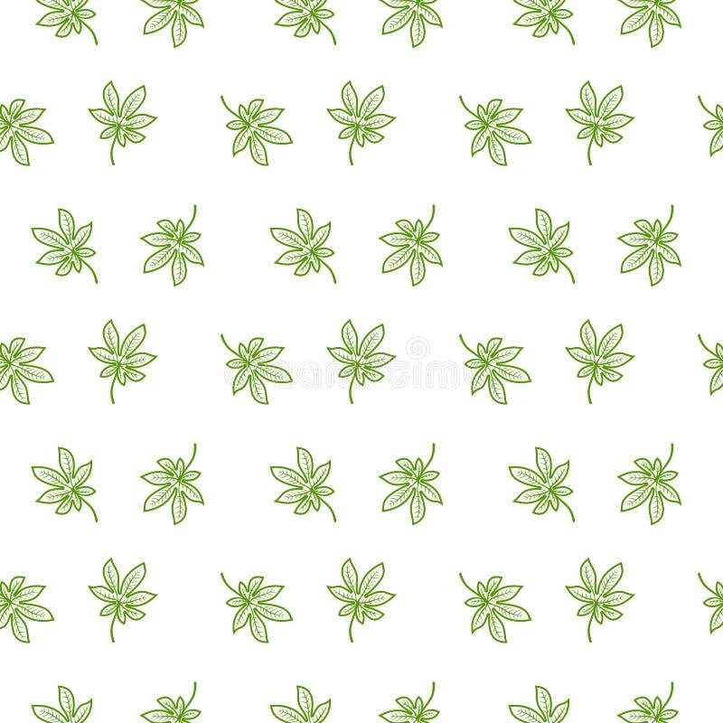无缝的样式在白色背景传染媒介例证的被隔绝的绿色叶子 库存例证