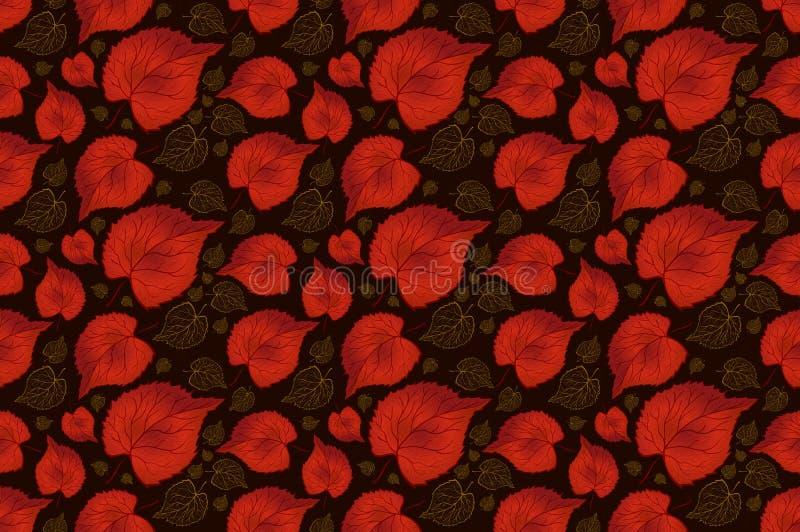 无缝的样式在黑背景,红色,tileable离开墙纸、卡片或者织品传染媒介的eps 10 库存例证