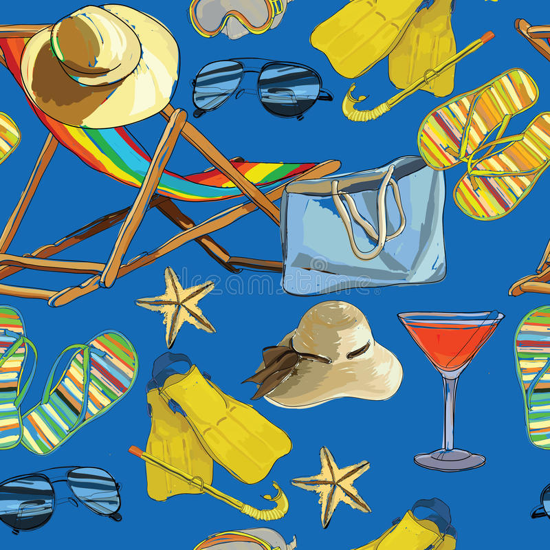 Download 无缝的样式夏天,在沙子的可躺式椅与帽子, Sunglass 向量例证 - 插画 包括有 五颜六色, 海星: 72358878