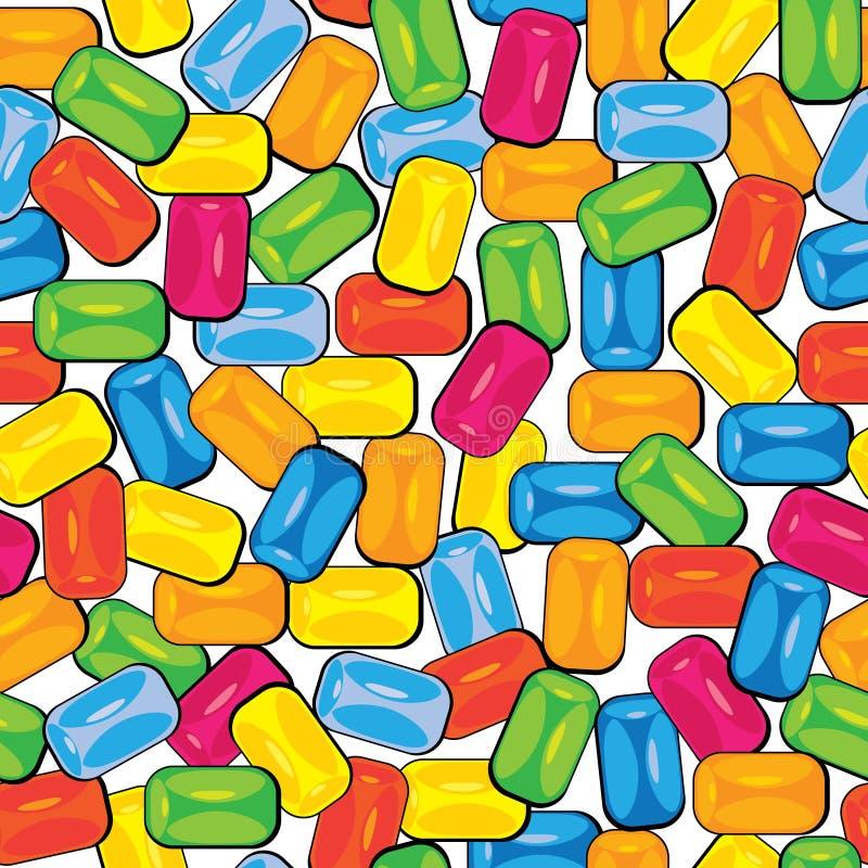 无缝的样式多色bubblegum  库存例证