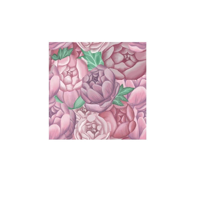 无缝的样式大桃红色牡丹和绿色叶子 库存例证