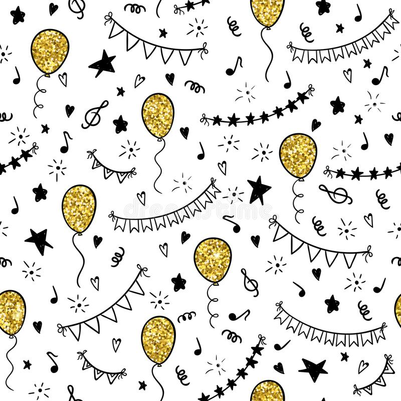 无缝的样式手拉的乱画动画片反对和生日聚会的标志 设计假日w的贺卡和邀请 皇族释放例证
