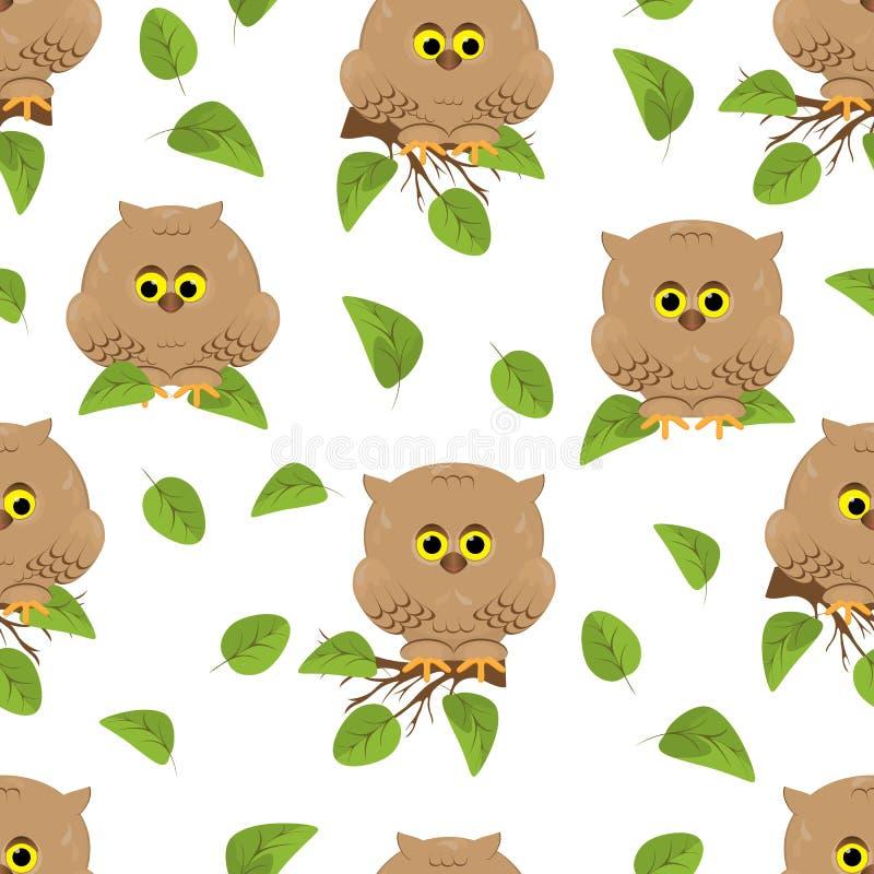 无缝的样式手拉的动画片逗人喜爱的猫头鹰 浅褐色的鸟s 向量例证