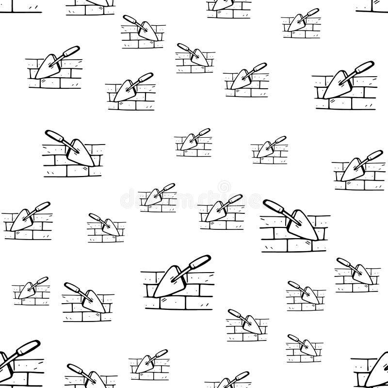 无缝的样式手拉的时尚修平刀象 手拉的黑剪影 标志/标志/乱画 背景查出的白色 皇族释放例证