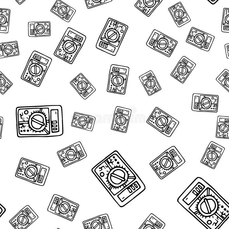 无缝的样式手拉的时尚多用电表象 手拉的黑剪影 标志/标志/乱画 背景查出的白色 向量例证