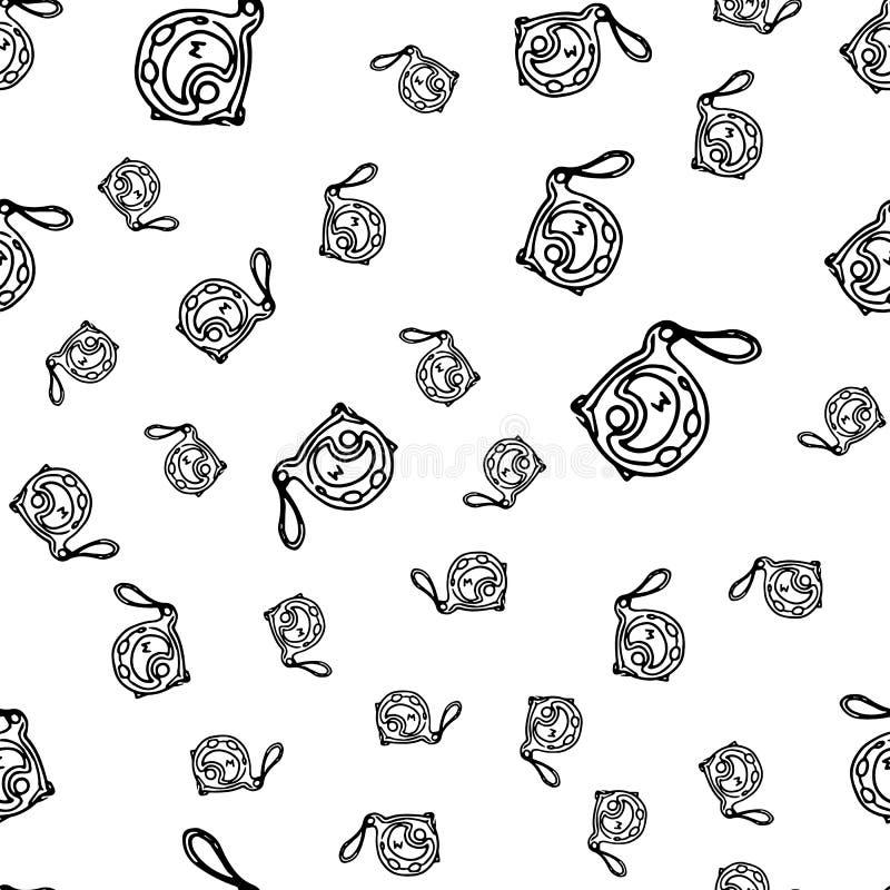 无缝的样式手拉的时尚大厦磁带象 手拉的黑剪影 标志/标志/乱画 查出在白色 库存例证