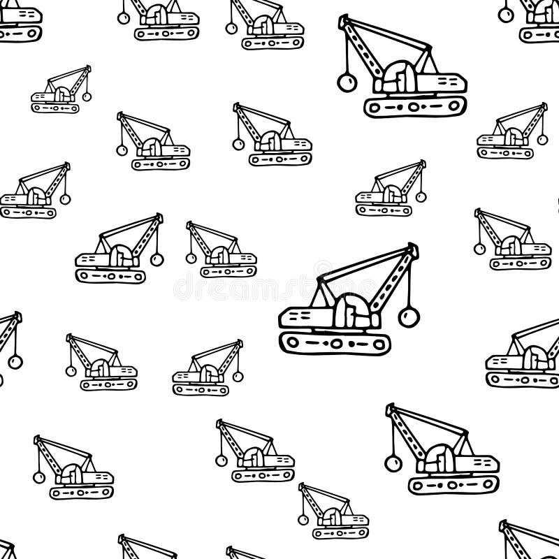 无缝的样式手拉的时尚挖掘机象 手拉的黑剪影 标志/标志/乱画 背景查出的白色 皇族释放例证
