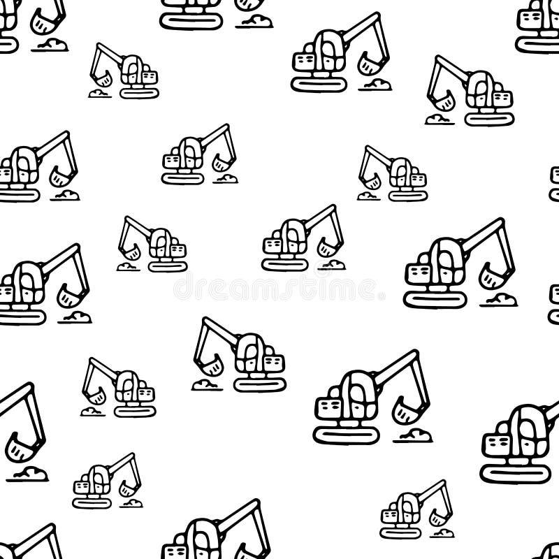 无缝的样式手拉的时尚挖掘机象 手拉的黑剪影 标志/标志/乱画 背景查出的白色 库存例证