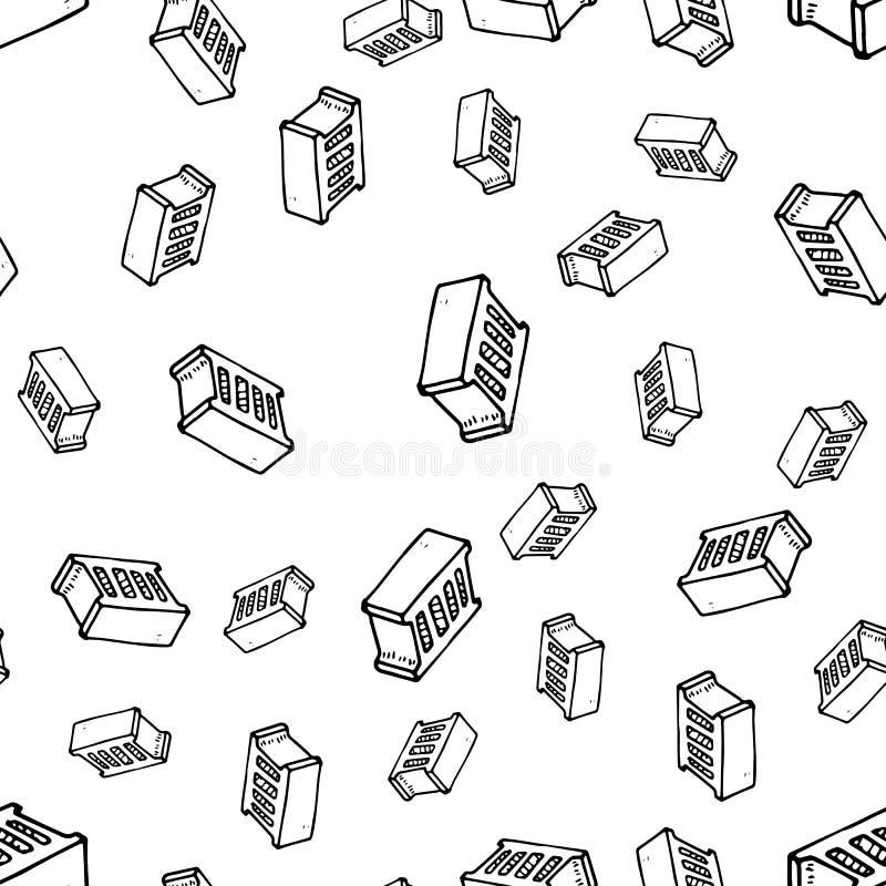 无缝的样式手拉的时尚砖象 手拉的黑剪影 标志/标志/乱画 背景查出的白色 向量例证