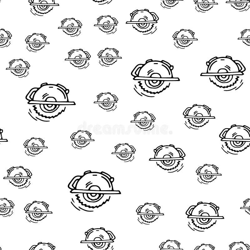 无缝的样式手拉的时尚锯象 手拉的黑剪影 标志/标志/乱画 背景查出的白色 平面 向量例证