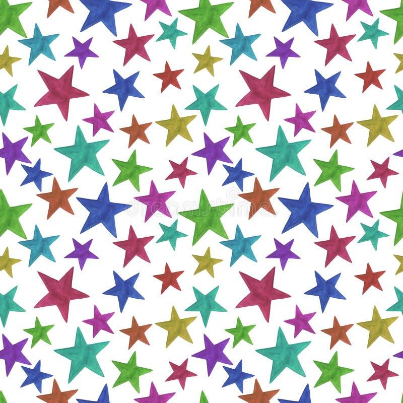 无缝的样式担任主角数字纸scrapbooking的纺织品设计装饰问候假日col的多彩多姿的色的水彩 向量例证