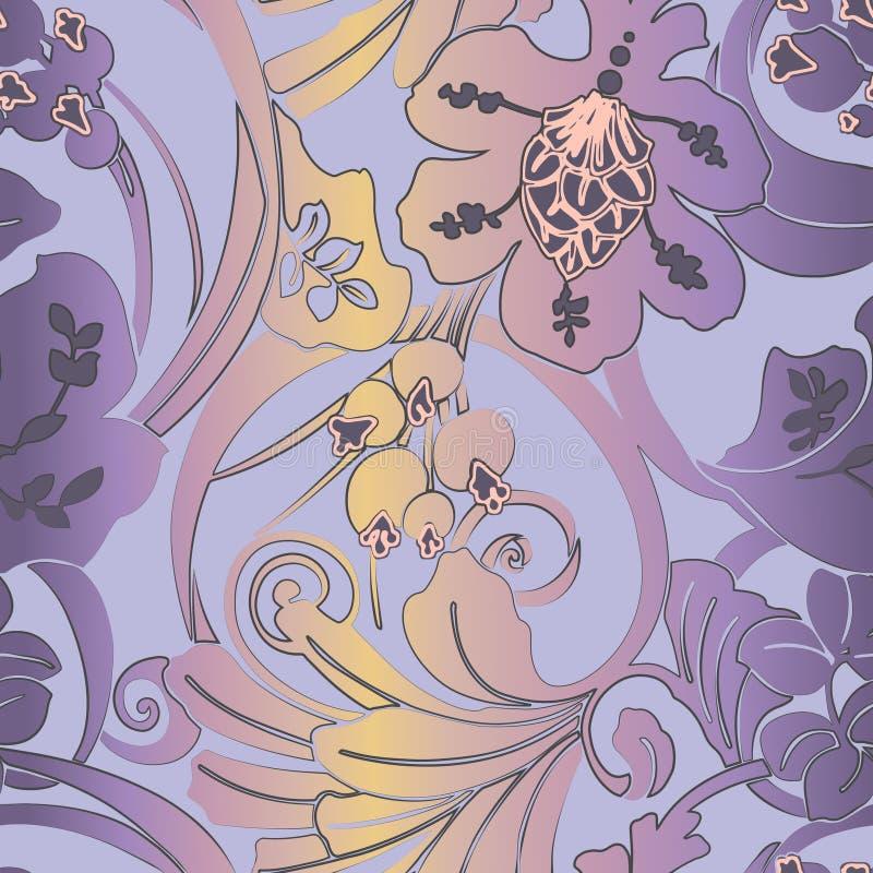 无缝的样式新艺术主义 Jugendstil 与花、叶子、线性元素的莓果和结节的现代背景 Backgroun 皇族释放例证