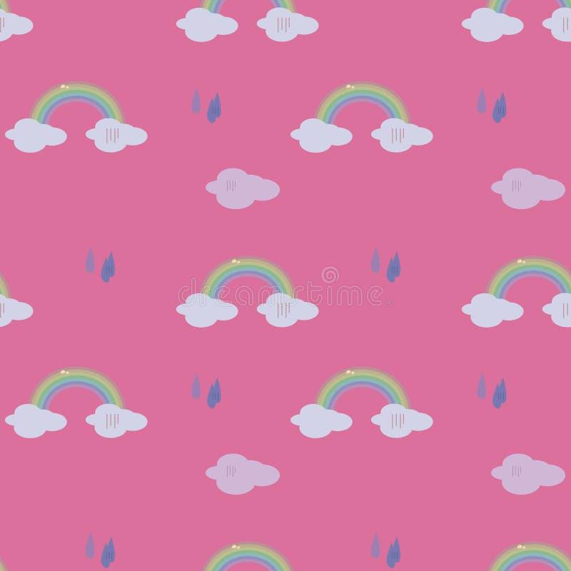 无缝的样式明亮的桃红色紫红色的五颜六色的彩虹天气形象下降雨云天空传染媒介礼品包装材料乐趣孩子backgroun 向量例证