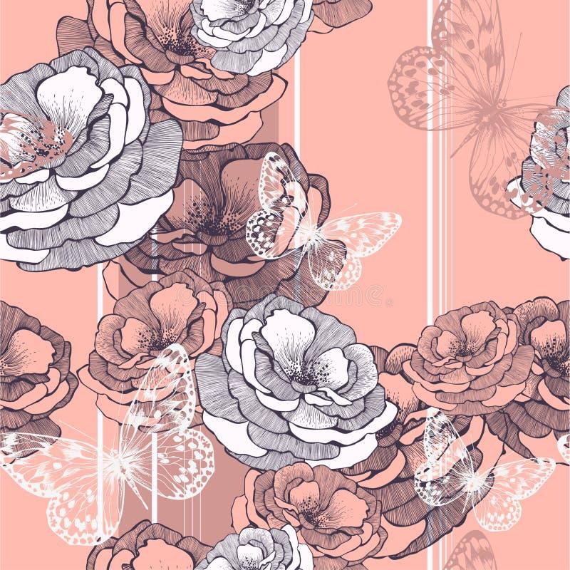 无缝的样式有镶边背景的玫瑰 向量例证