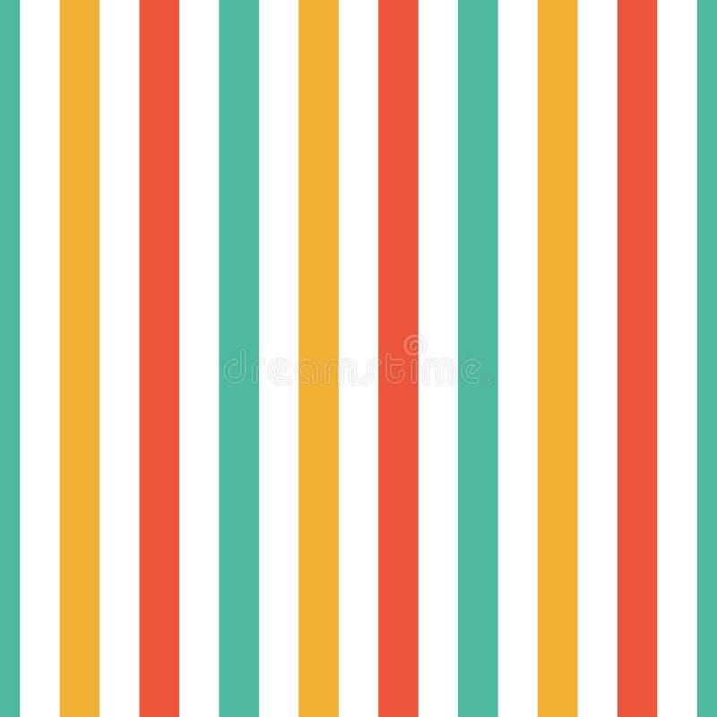 无缝的样式条纹红色,绿色,橙色和黄色颜色 垂直的样式条纹摘要背景传染媒介例证 向量例证