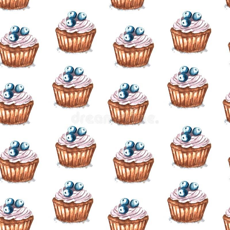 无缝的样式杯形蛋糕的水彩例证用蓝莓 库存例证